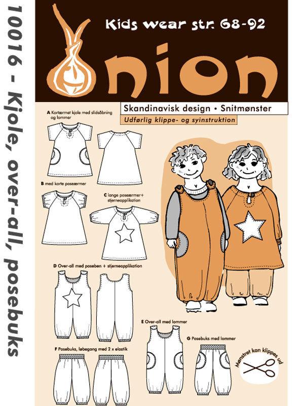 Kjole, over-all, posebuks, str. 68-92 - Onion kids wear 10016 - Onion