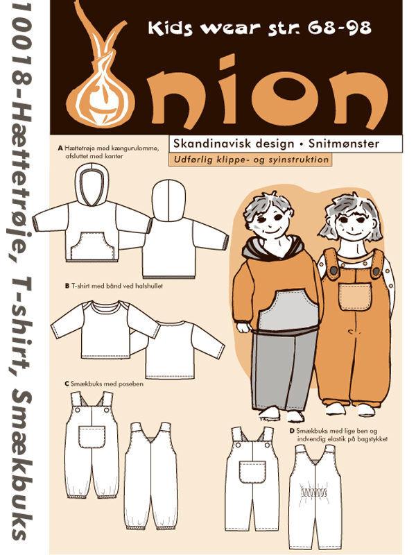 Hættetrøje, t-shirt, smækbuks, str. 68-98 - Onion kids wear 10018 - Onion