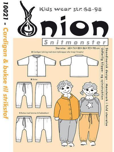 Cardigan & bukser til strikstof, str. 68-98 - Onion kids wear 10021 - Onion