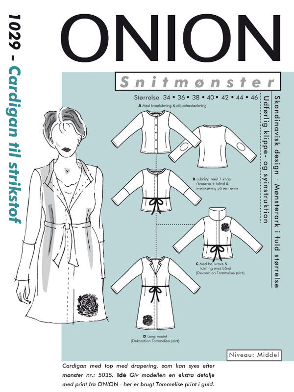 Onion cardigan til strikstof, str. 34-46 - Onion 1029 - Onion