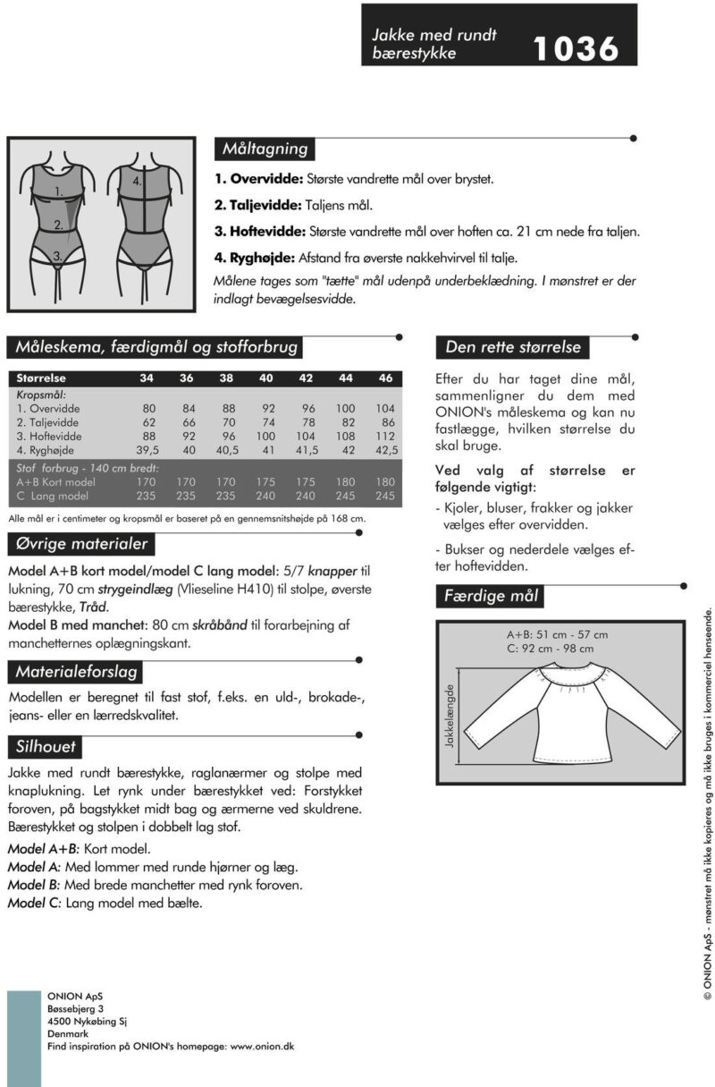 Onion jakke med rundt bærestykke, str. 34-46 - Onion 1036 - Onion