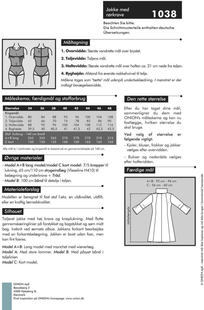 Onion jakke med rørkrave, str. 34-48 - Onion 1038 - Onion