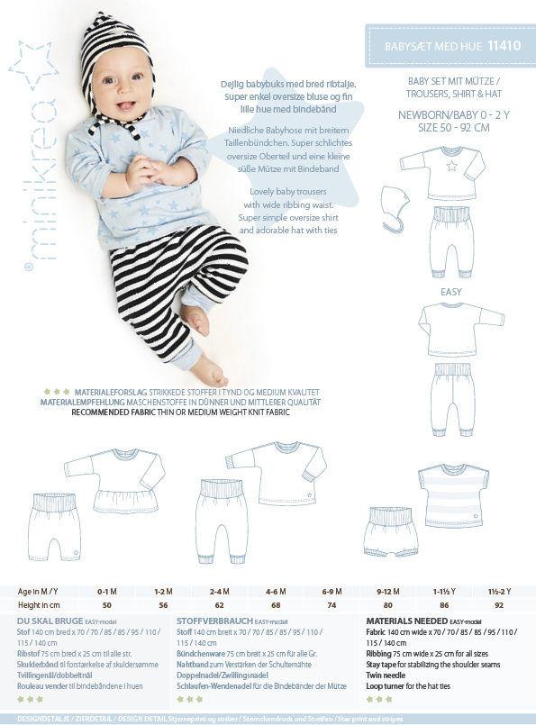 Babysæt med hue, str. 50-92 cm - Minikrea 11410 - Minikrea