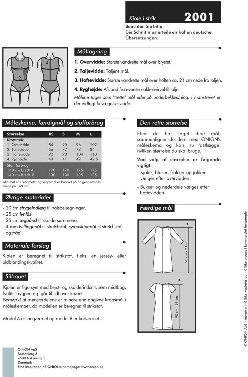 Onion kjole i strik, str. XS-L - Onion 2001 - Onion