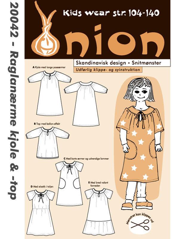 Raglanærme kjole & -top, str. 104-140 - Onion kids wear 20042 - Onion