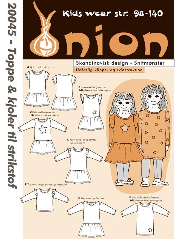 Toppe & kjoler til strikstof, str. 98-140 - Onion kids wear 20045 - Onion