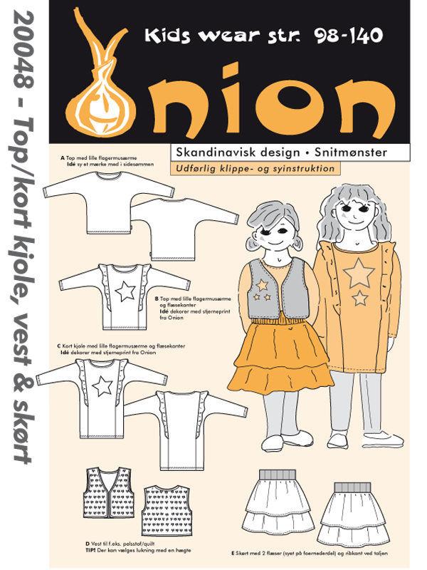 Top/kort kjole, vest & skørt, str. 98-140 - Onion kids wear 20048 - Onion