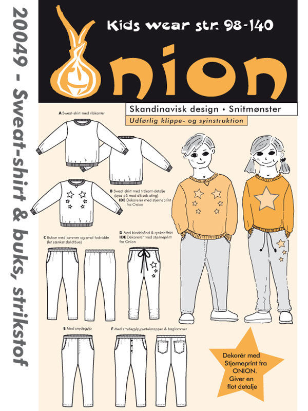 Sweat-shirt & buks, strikstof, str. 98-140 - Onion kids wear 20049 - Onion