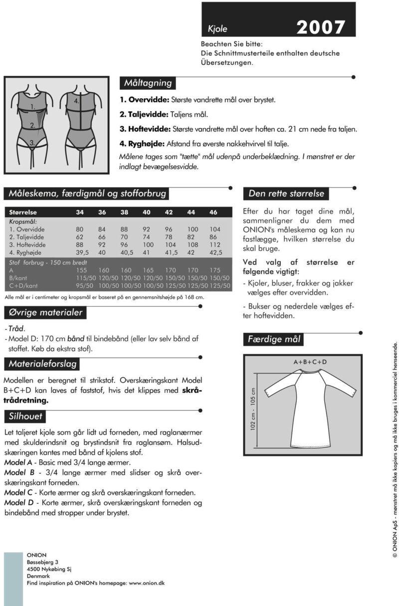 Onion kjole, str. 34-46 - Onion 2007 - Onion