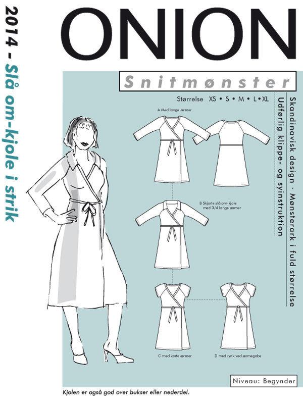 Onion slå-om-kjole i strik, str. XS-XL - Onion 2014 -