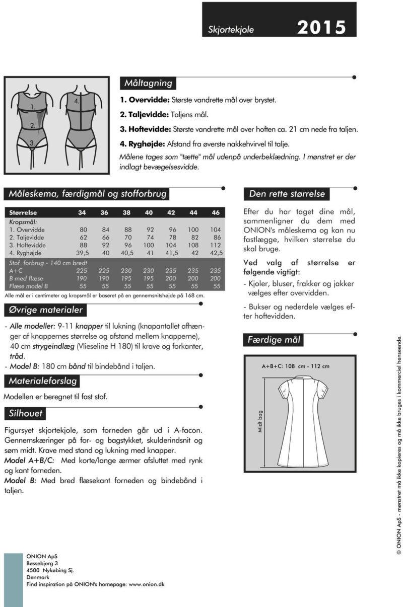 Onion skjortekjole, str. 34-46 - Onion 2015 - Onion