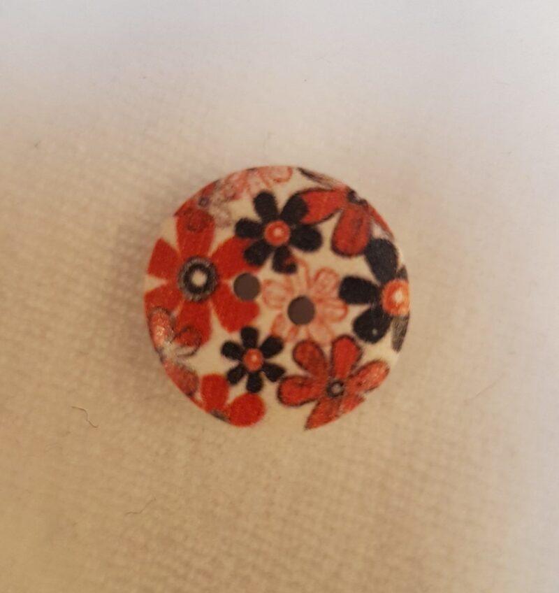 Træknap med blomster i rød og orange, Ø 17 mm -