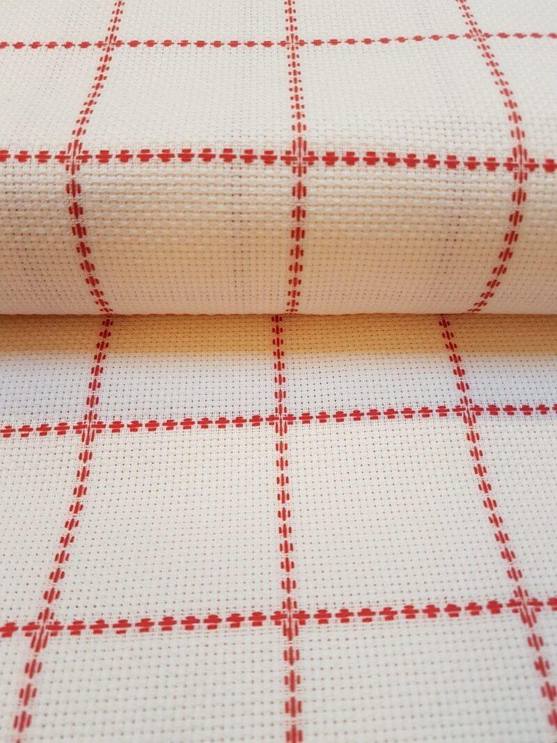 AIDA hvid med rød tern - 5,4 trådet -