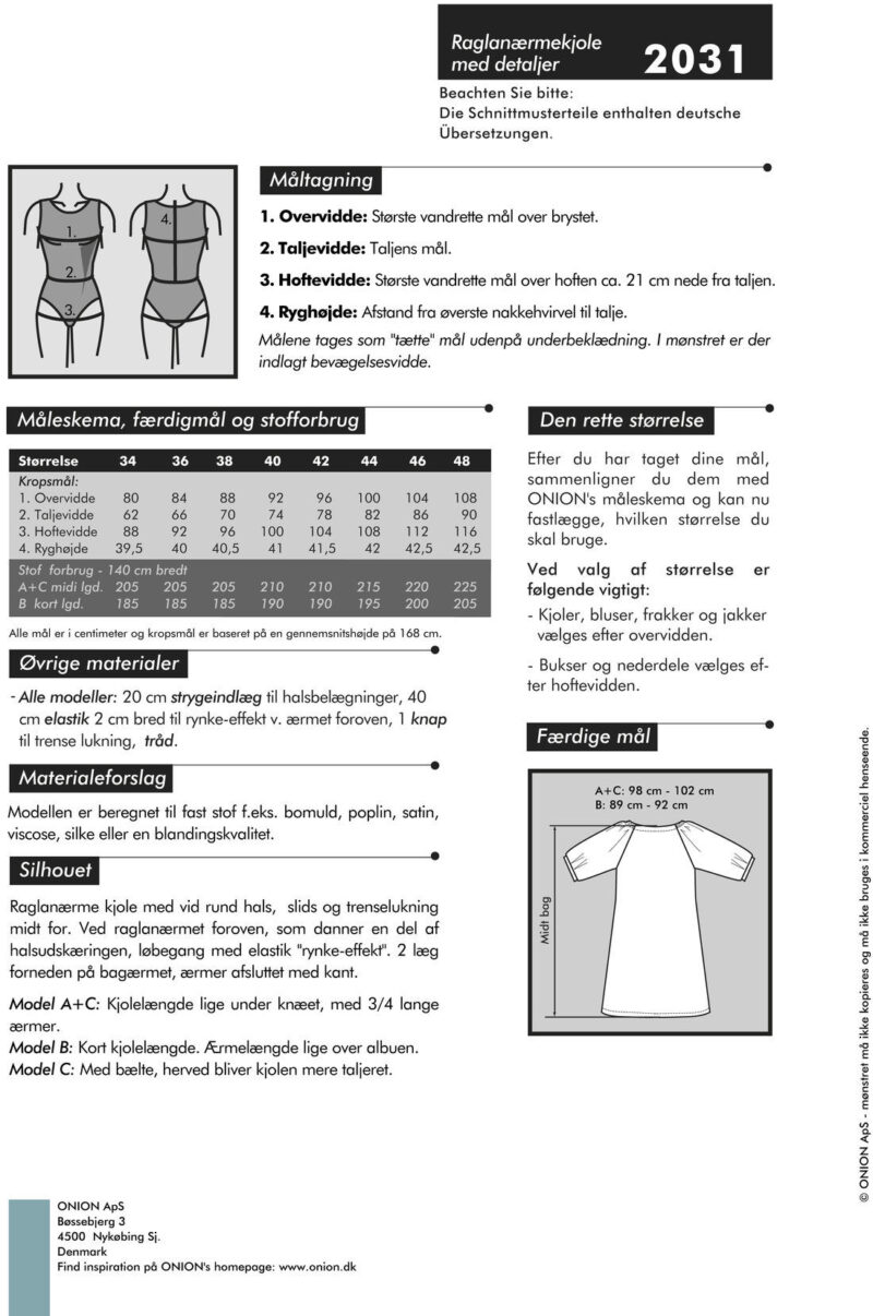 Onion raglanærme kjole med detaljer, str. 34-48 - Onion 2031 - Onion