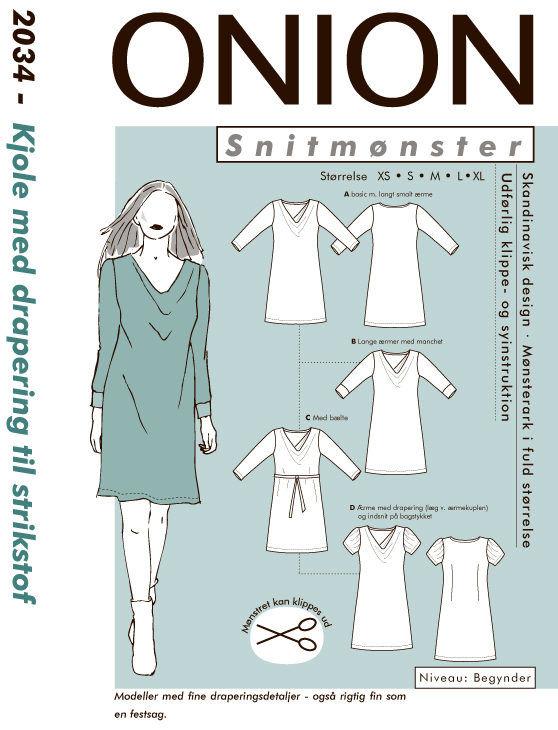 Onion kjole med drapering til strikstof, str. XS-XL - Onion 2034 - Onion