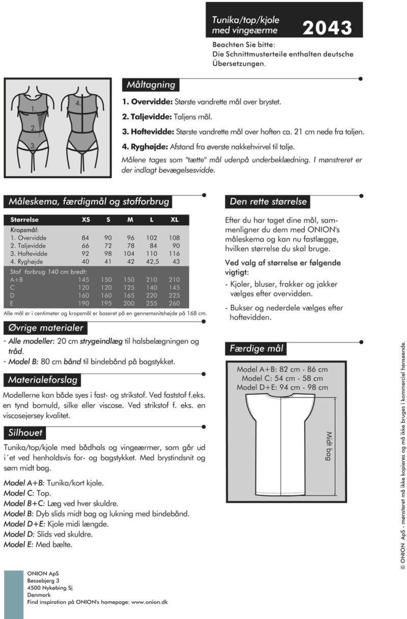 Tunika/top/kjole med vingeærmer, str. XS-XL - Onion 2043 - Onion