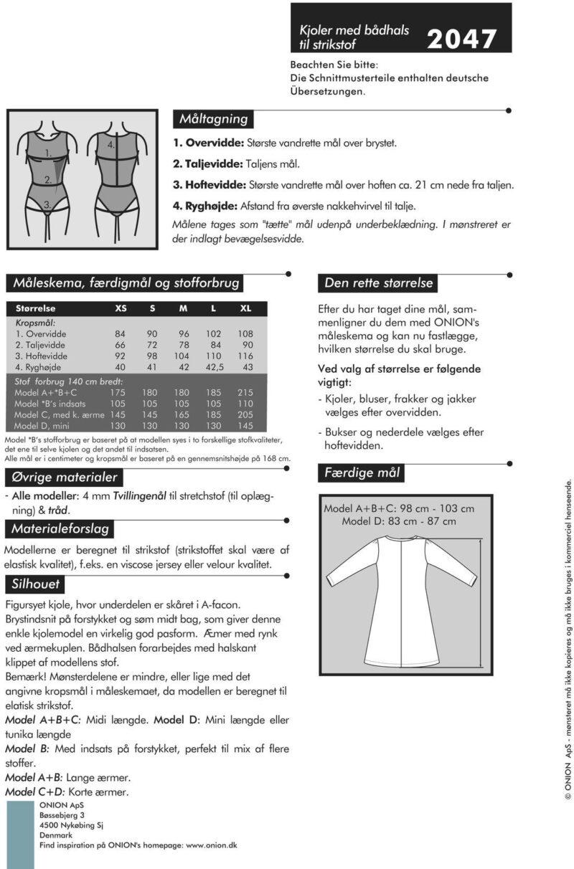 Kjoler med bådhals til strikstof, str. XS-XL - Onion 2047 - Onion