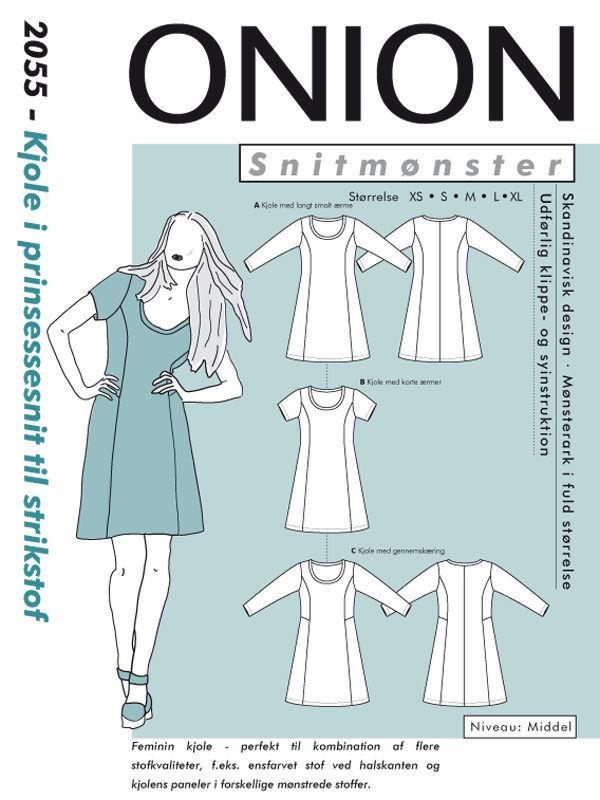Kjole i prinsessesnit til strikstof, str. XS-XL - Onion 2055 - Onion