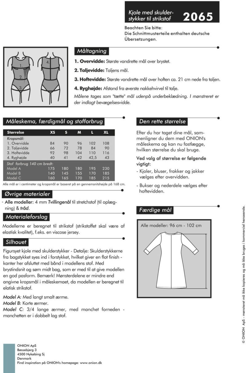 Kjole med skulderstykker, til strikstof - str. XS-XL - Onion 2065 - Onion