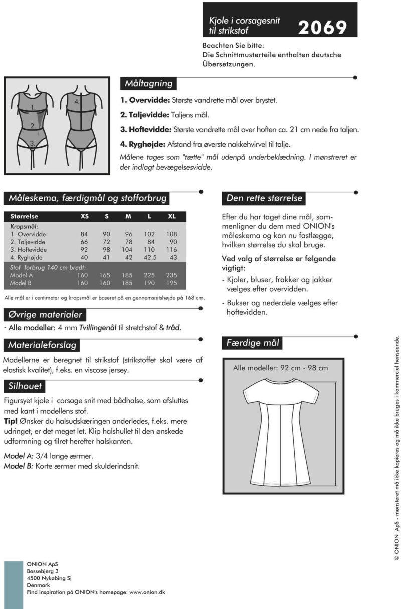 Kjole i corsagesnit til strikstof, str. XS-XL - Onion 2069 - Onion