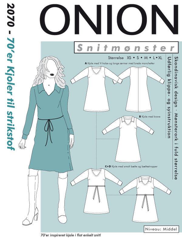 70'er kjoler til strikstof, str. XS-XL - Onion 2070 - Onion