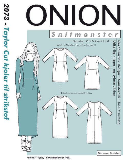 Taylor Cut kjoler til strikstof, str. XS-XL - Onion 2073 - Onion