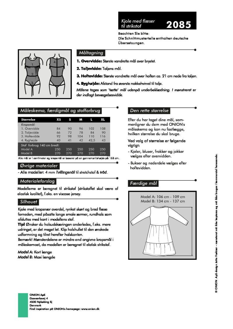 Kjole med flæser til strikstof, str.XS-XL - Onion 2085 - Onion