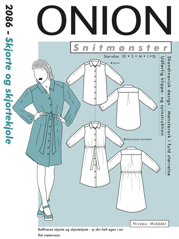 Skjorte og skjortekjole, str.XS-XL - Onion 2086 - Onion