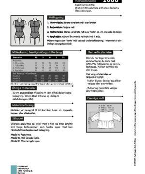 Peplun top og kjole med ballonærme, str.XS-XL - Onion 2088 -