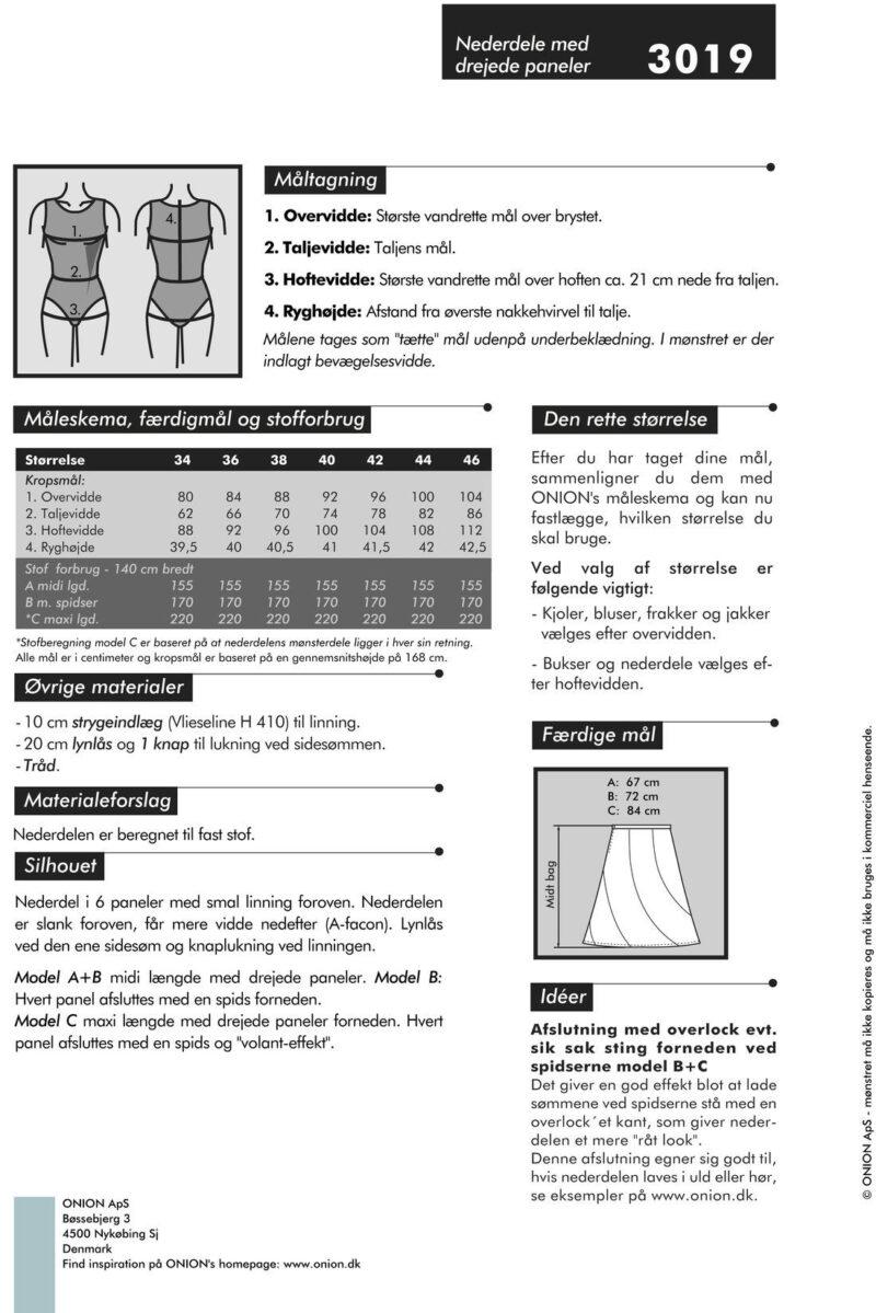 Nederdele med drejede paneler, str. 34-46 - Onion 3019 - Onion