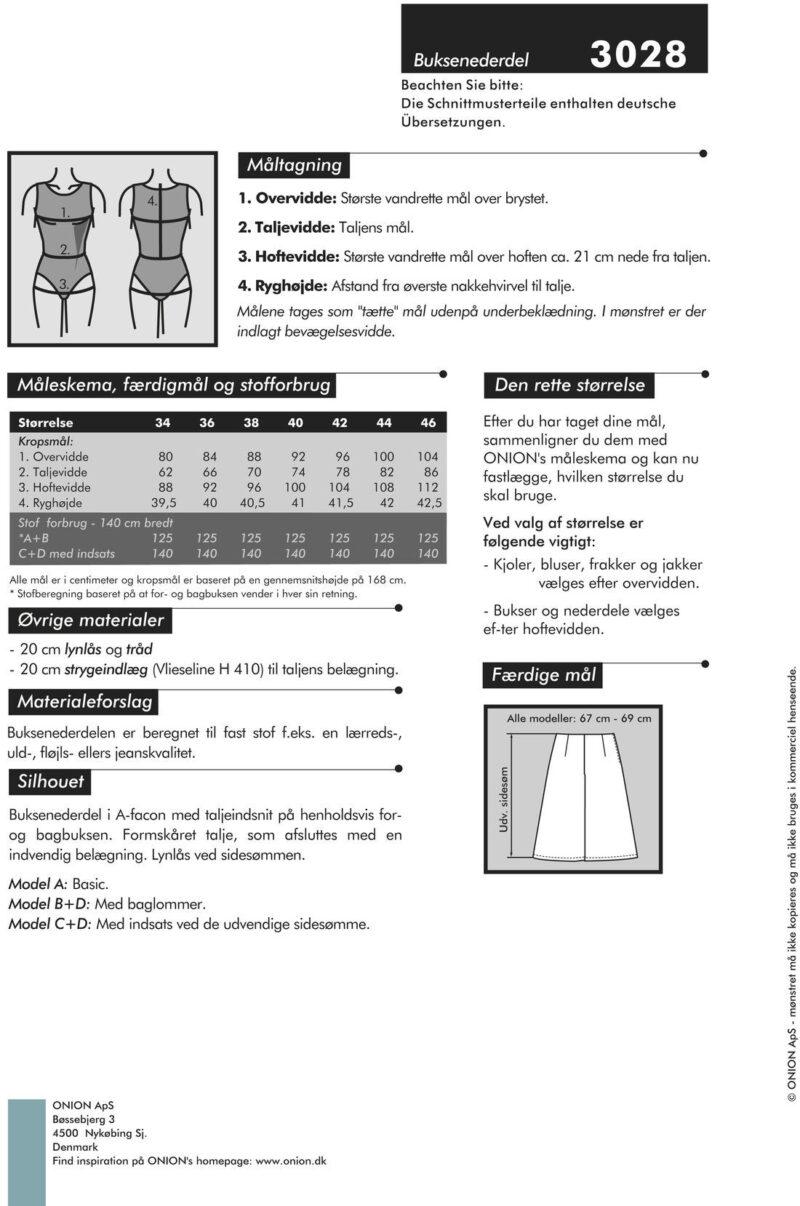 Buksenederdel, str. 34-46 - Onion 3028 - Onion