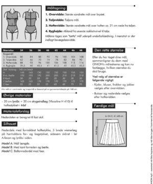 Læg- og ballonnederdel, str. 34-48 - Onion 3033 -