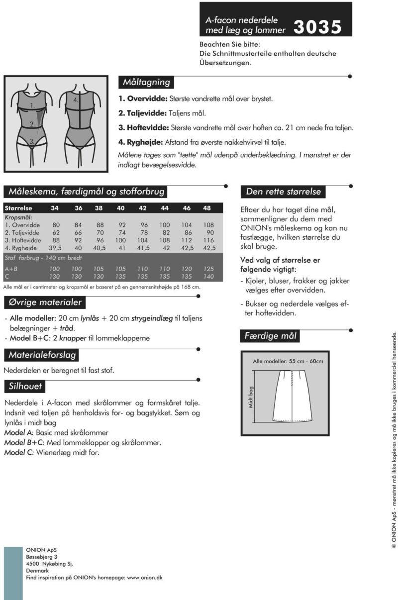 A-facon nederdele med læg og lommer, str. 34-48 - Onion 3035 - Onion