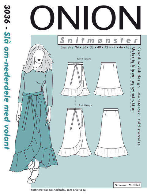 Slå om-nederdel med volant, str. 34-48 - Onion 3036 - Onion