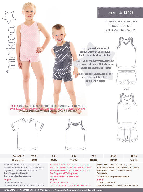 Undertøj, str. 2-12 år - Minikrea 33405 - Minikrea