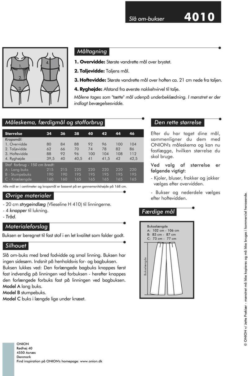 Slå om-buks, str. 34-46 - Onion 4010 - Onion
