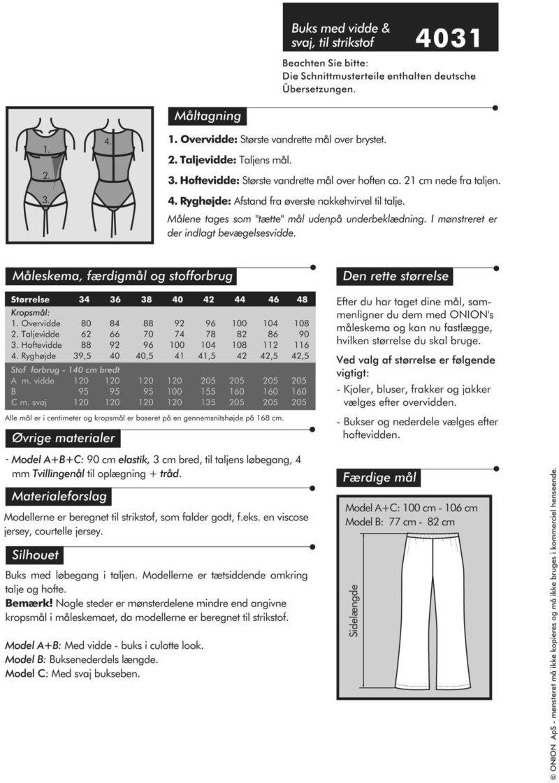 Buks med vidde & svaj, til strikstof, str. 34-48 - Onion 4031 - Onion