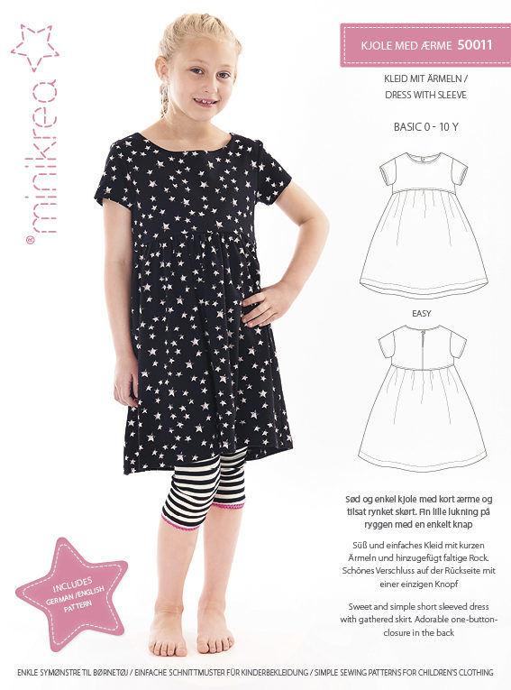 Kjole med ærme, str. 0-10 år - Minikrea 50011 - Minikrea