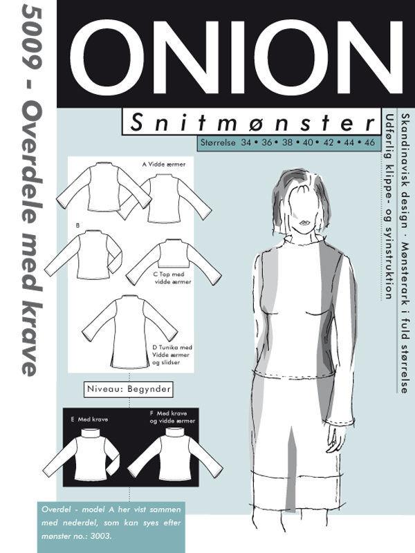 Overdele med krave, str. 34-46 - Onion 5009 - Onion