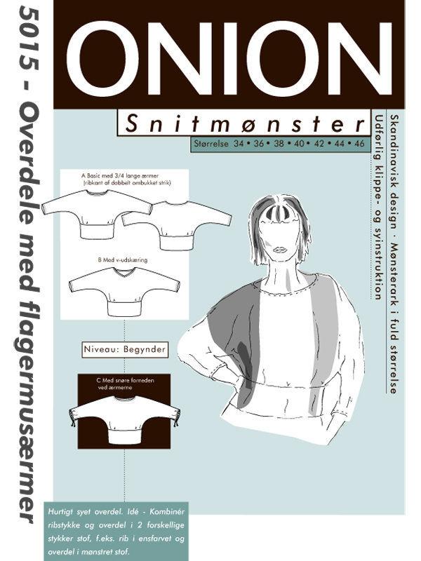 Overdele med flagermusærmer, str. 34-46 - Onion 5015 - Onion