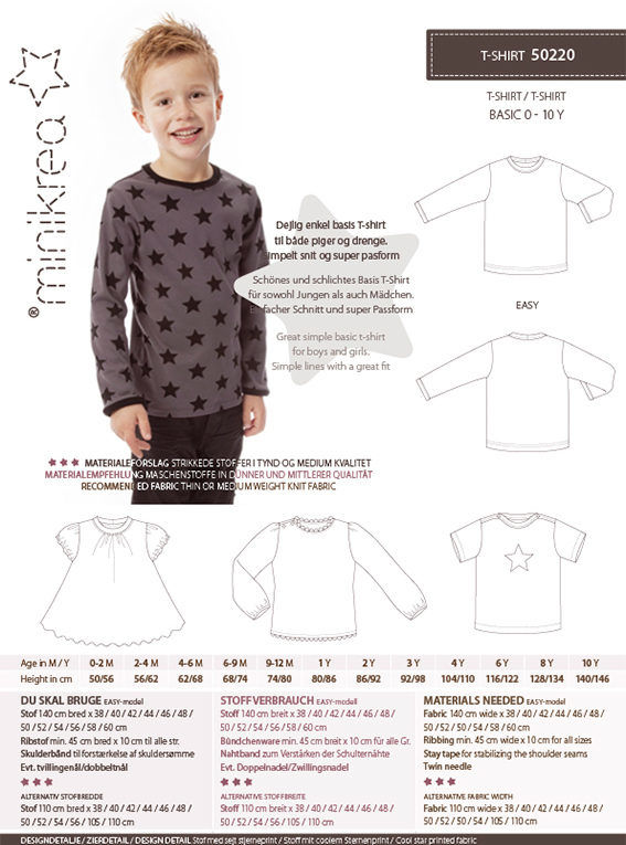 T-shirt, str. 0-10 år - Minikrea 50220 - Minikrea