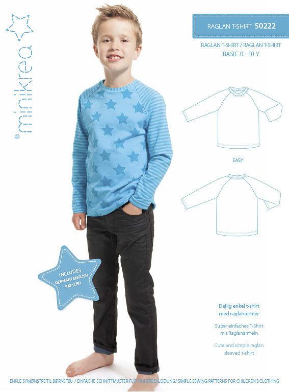 Raglan t-shirt, str. 0-10 år - Minikrea 50222 - Minikrea
