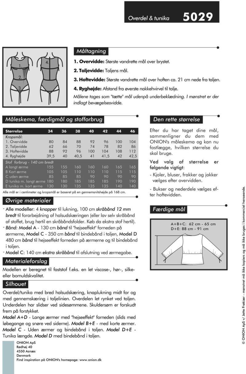 Overdel og tunika, str. 34-46 - Onion 5029 - Onion