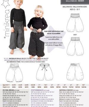 Ballonbuks, str. 0-10 år - Minikrea 50301 - Minikrea