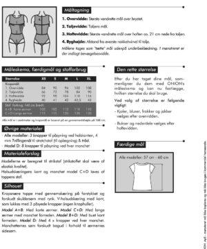 Toppe med gennemskæring til rynk, str. XS-XL - Onion 5038 - Onion