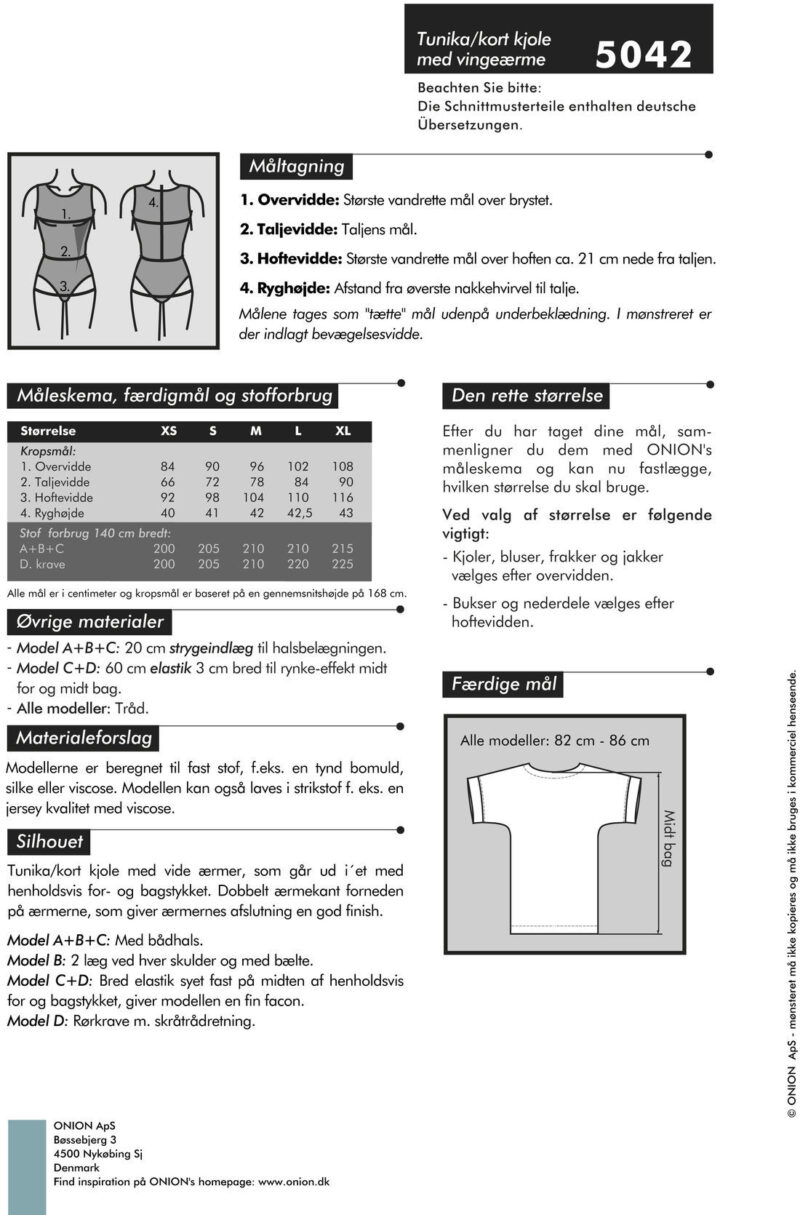 Tunika/kort kjole med vingeærmer, str. XS-XL- Onion 5042 - Onion