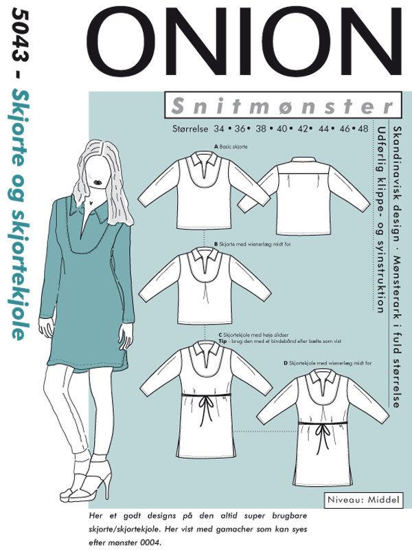 Skjorte og skjortekjole, str. 34-48 - Onion 5043 -