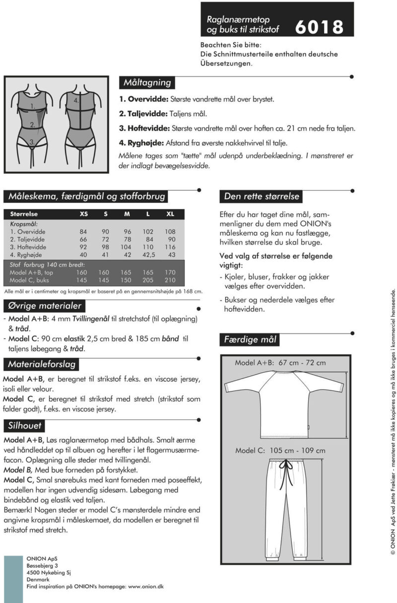 Raglanærmetop & buks til strikstof, str. XS-XL - Onion 6018 - Onion