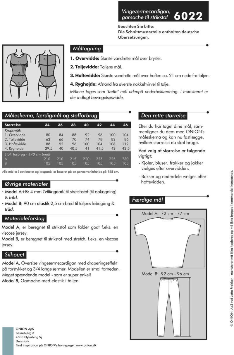 Vingeærmecardigan, gamache til strikstof, str. 34-46 - Onion 6022 - Onion