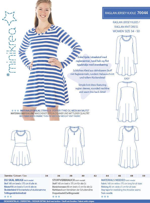 Raglan jersey kjole, str. 34-50 - Minikrea 70044 - Minikrea
